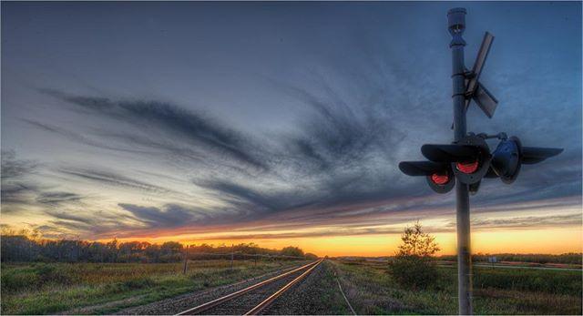 Sunset along the tracks . . . . . . #trains #sunset #alberta  #explorealberta #ottawaphotographer #explorecanada #thankyoucanada #railroad