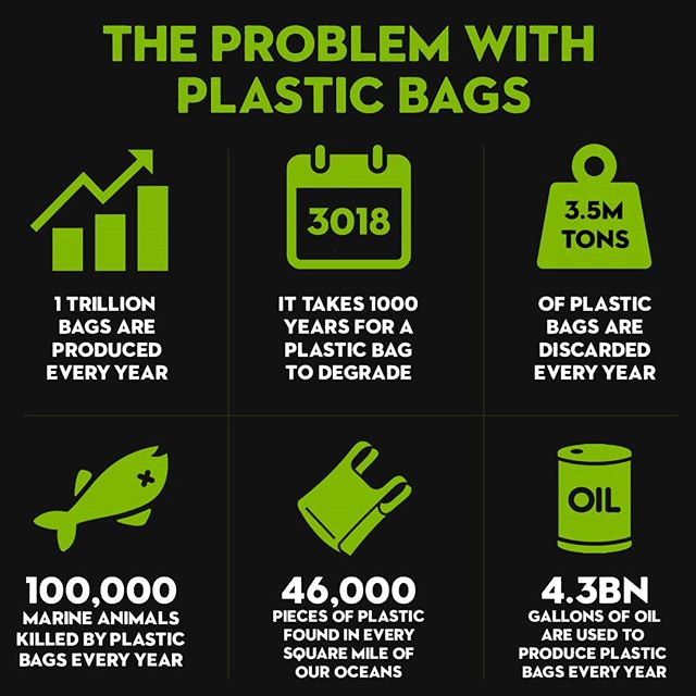 Here are some of the problems associated with single use plastic bags. What are your favourite solutions for the plastic bag problem? ♻️