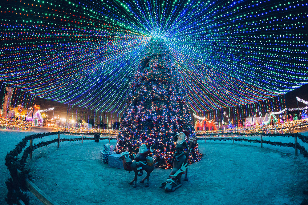 CHRISTMAS TOWN - There's so much to do + see in Christmas Town; where do we begin?! Pioneer Village in the Kern County Museum is turned into a place that exudes Christmas cheer with its 40-foot lit Christmas tree and glittering canopy, sledding snow hill, Santa's cottage, hayride, skating rink + more. If you're looking for Christmas cheer, this is the place to be in Bakersfield. It's utterly magical and open until December 31st.Photo by Christmas Town