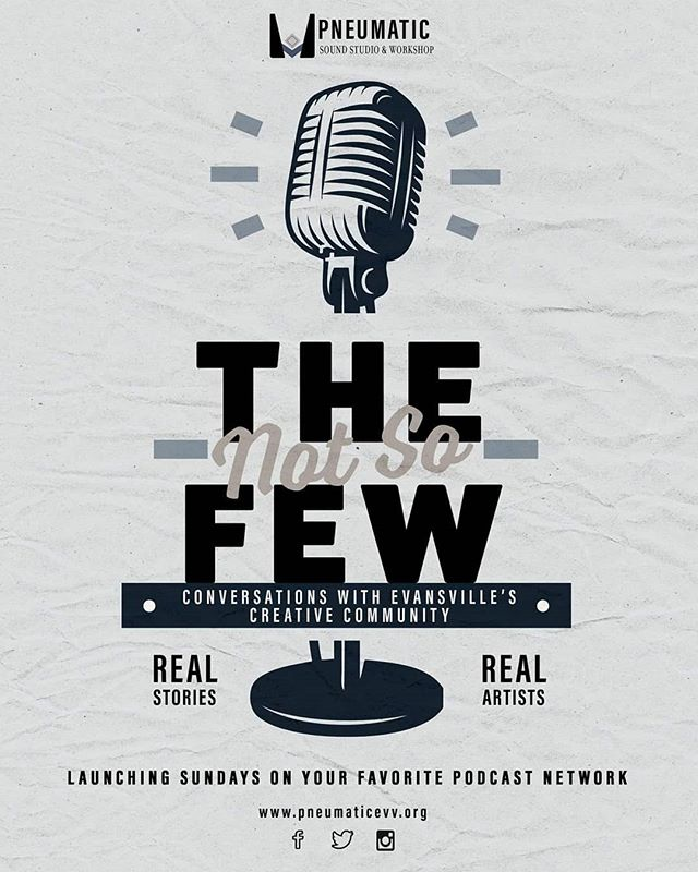We are excited to announce our new podcast series, The (Not So) Few! Join us as we dive into Evansville's creative community  to uncover the inner workings and stories behind some of Evansville's greatest artists.  Tune in for our first episode, launching April 1st.