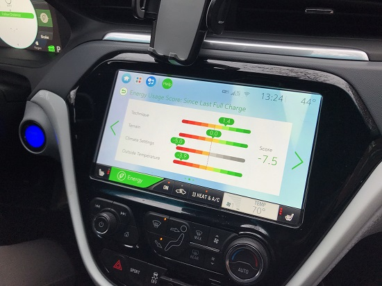 The dashboard of the EV Chevy Bolt that allows you to monitor your charging settings.