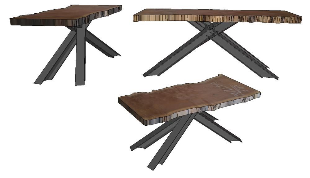 """Concept design. Four steel beams """"crashing"""" together under a slab of walnut."""