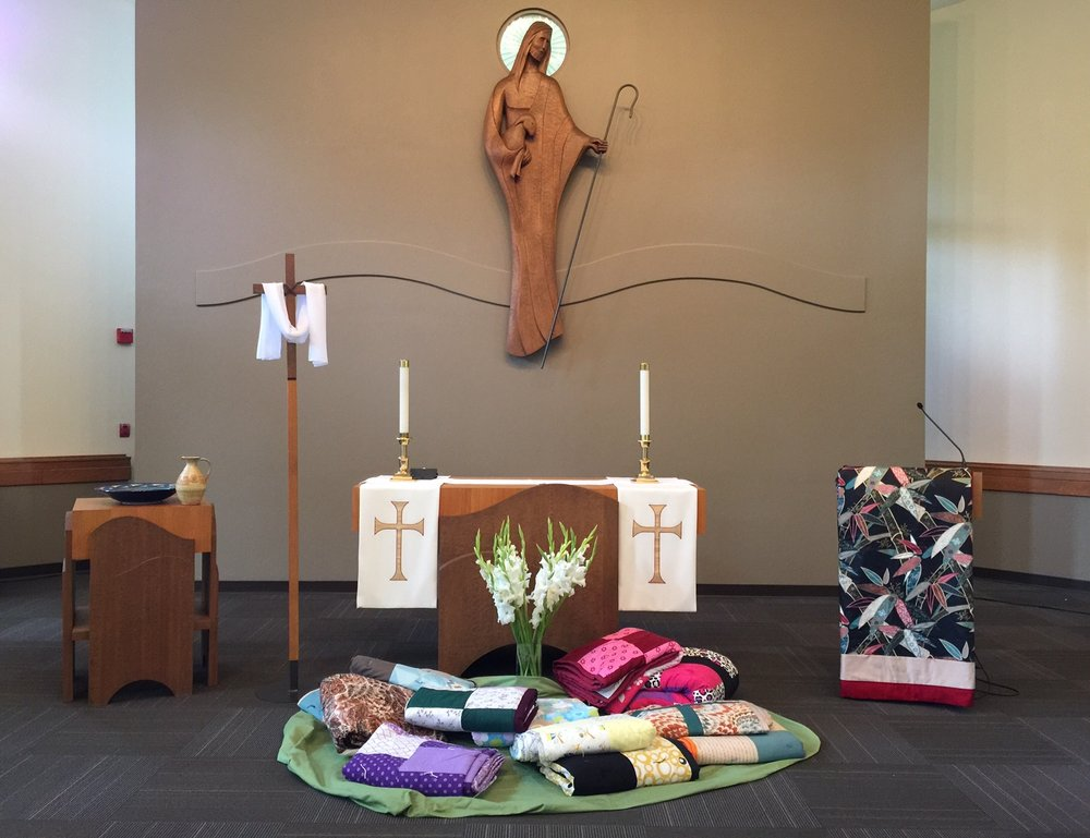 Quilts placed near the altar at Shepherd of the Hills Lutheran Church in Sammamish, WA.