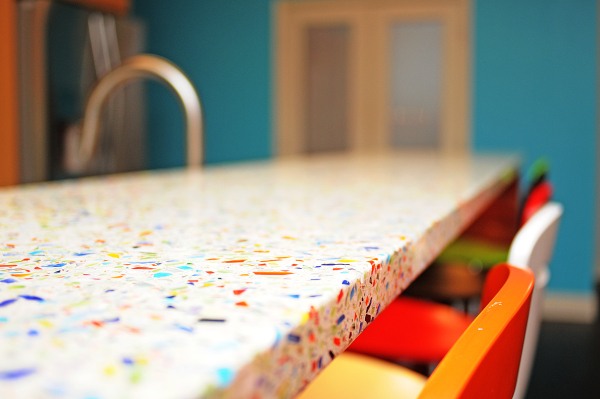A recycled glass countertop from  Vetrazzo on a project of ours.