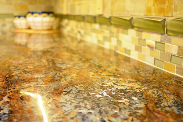 Accent of  #Oceanside glass in green to give a backsplash a dimensional twist.