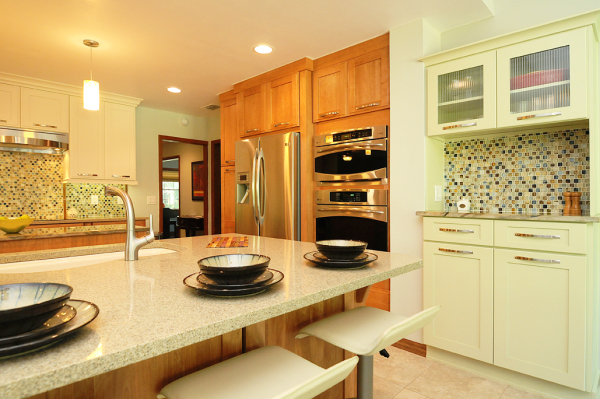 Serene green hutch from Holiday Kitchens