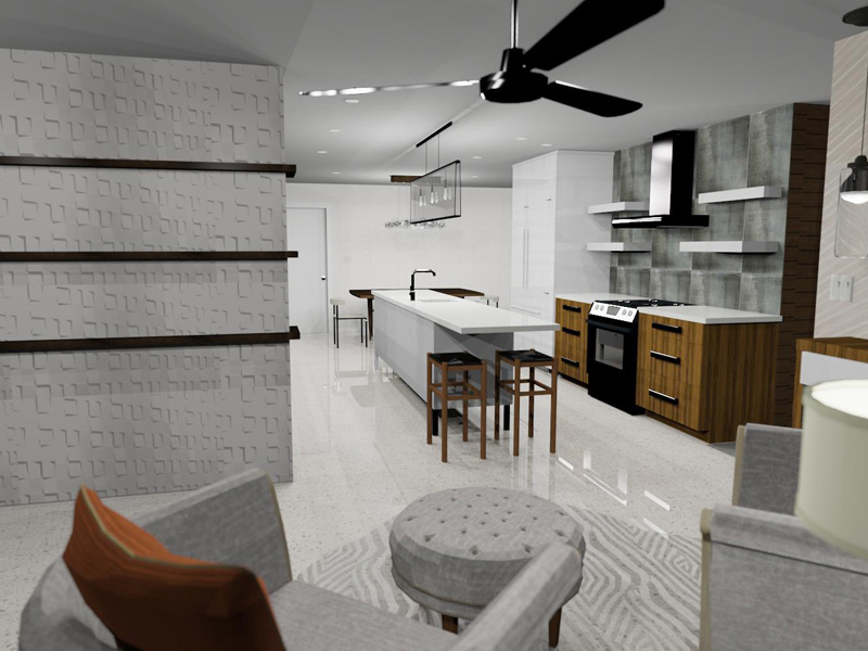 3D rendering of kitchen and living room