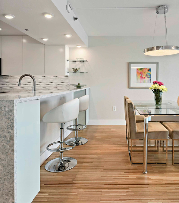 modern and chic kitchen and dining room