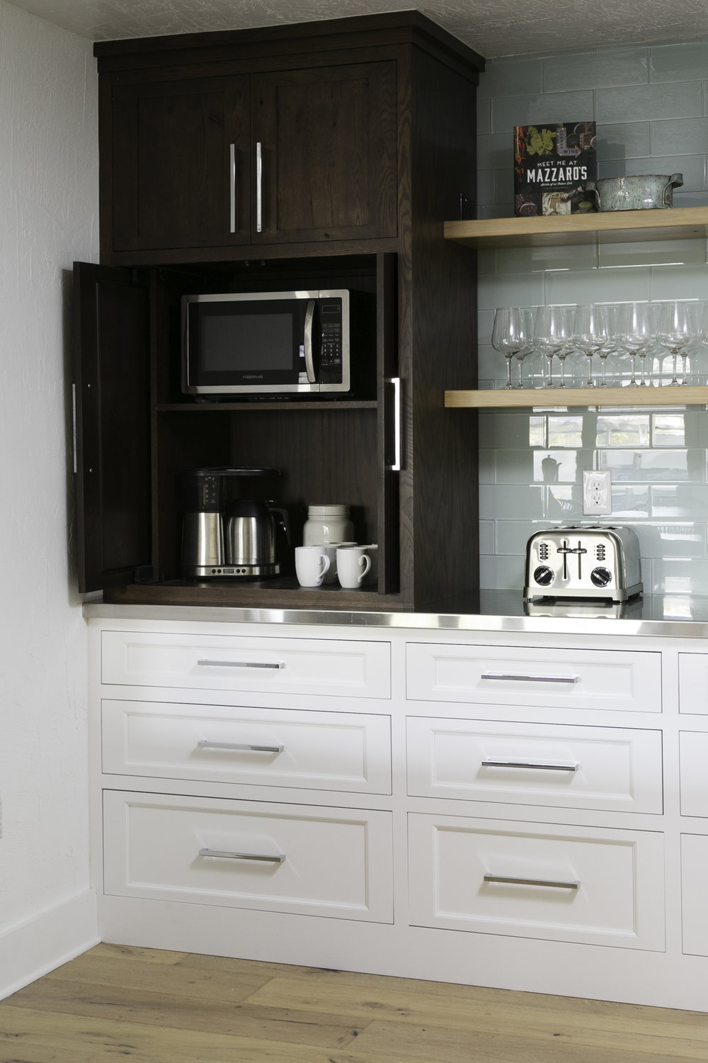 Coffee bar storage in kitchen