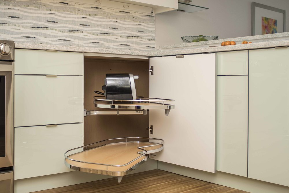 Magic corner base pullout, also called Lemans, is perfect for a well organized kitchen