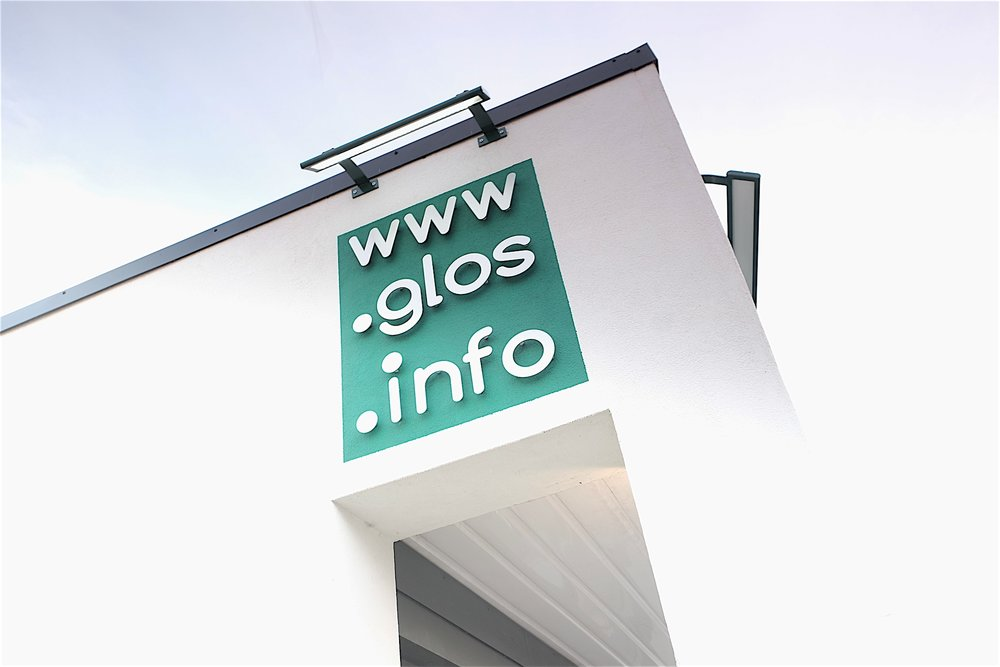 Glos Info exterior sign and external light