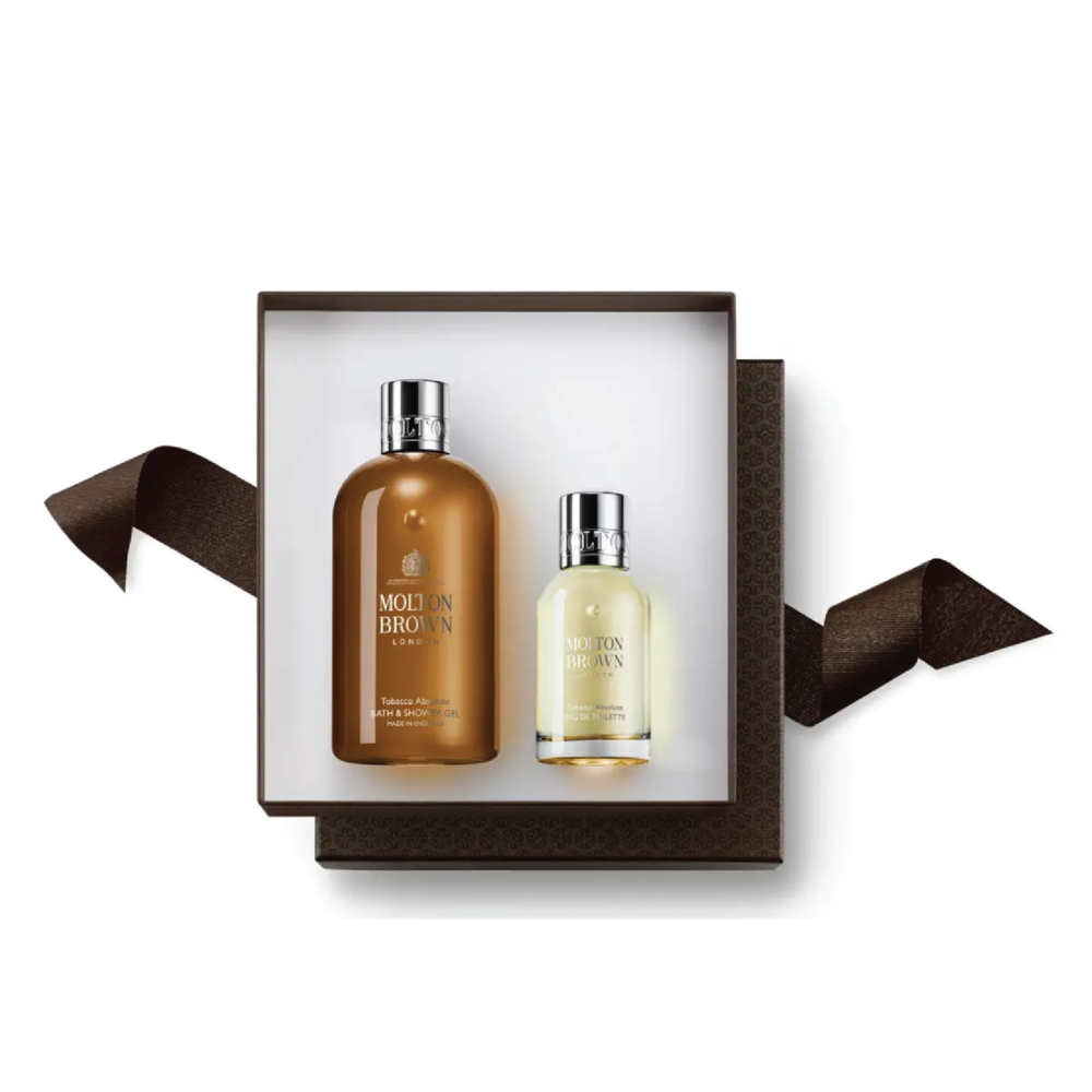 Molton Brown Tobacco Absolute Fragrance Gift Set - $85 at Neiman MarcusThis spicy citrus scent comes with a full-size shower gel and eau de toilette. A perfect masculine scent.