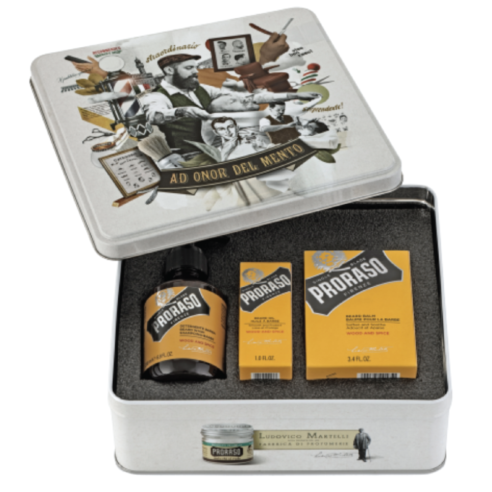 Proraso Wood and Spice Beard Tin - $45 at AmazonScruffy man? Make sure he's taking care of his beard with these conditioning washes and oils.