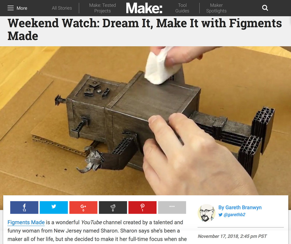 "Make: Weekend Watch - Being featured by the well-known Gareth Branwyn in his ""Weekend Watch"" section of Make: was definitely a highlight of 2018. You can read the full article here."