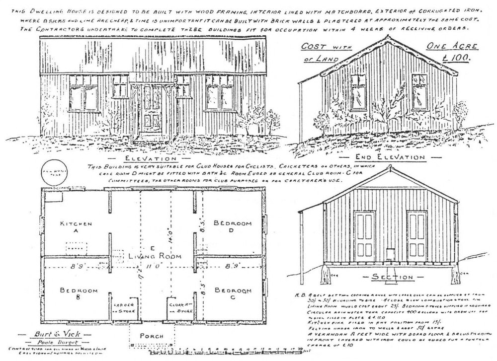 Early twentieth century drawing of the manufacturer of the prefabricated  Colonial Bungalows