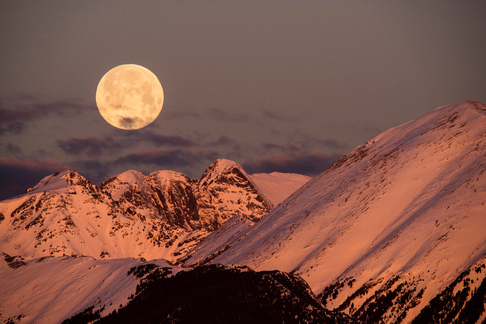 Full Moon and Alpenglow
