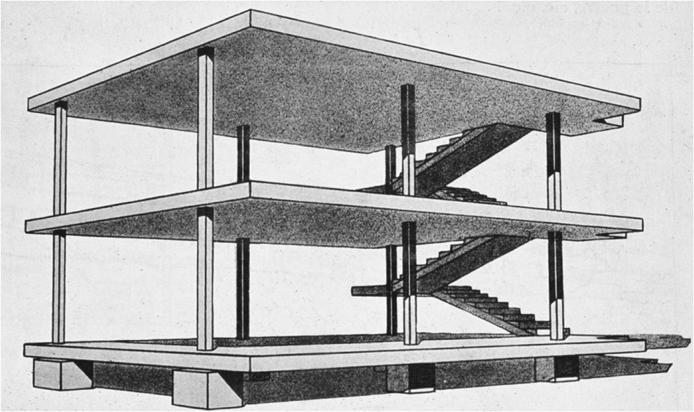 (32) Domino House Le Corbusier 1914: a paradigm and so unrelated to context.