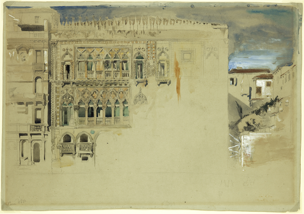 John Ruskin,  Ca' d'Oro , pencil, watercolour and tempera on grey paper, 1845