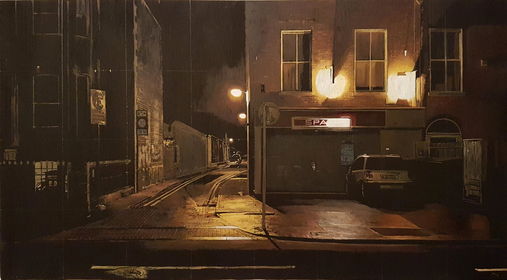 Francis Matthews,  South Circula r, 2019, oil on board 62x33.5cm (cropped)