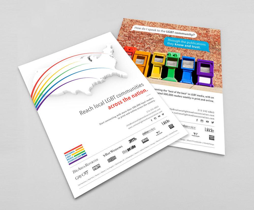 NATIONAL LGBT MEDIA ASSOCIATION:  Rebrand + Publication Ads