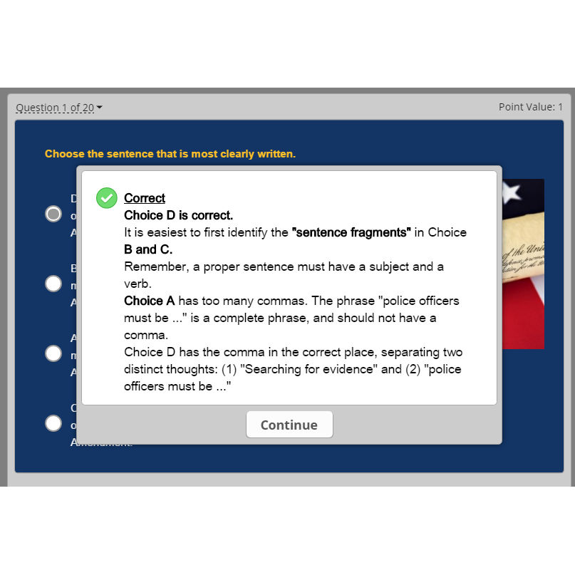 PoliceExam911 teaches you with both tutorials and in-depth answer explanations on the practice quizzes.