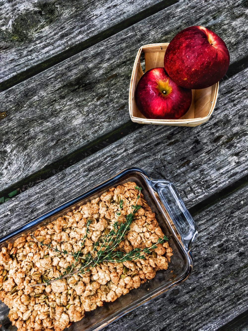 Brad & Butter | Pink Pearl Apple Crumble with Thyme & Pepitas