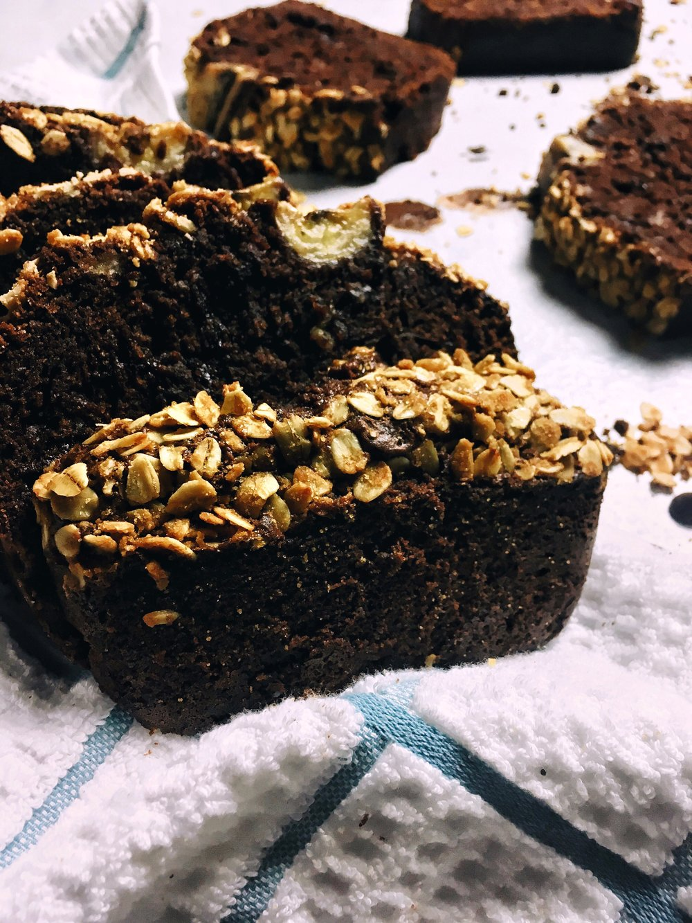 Double Chocolate Banana Bread with Caramelized Oats
