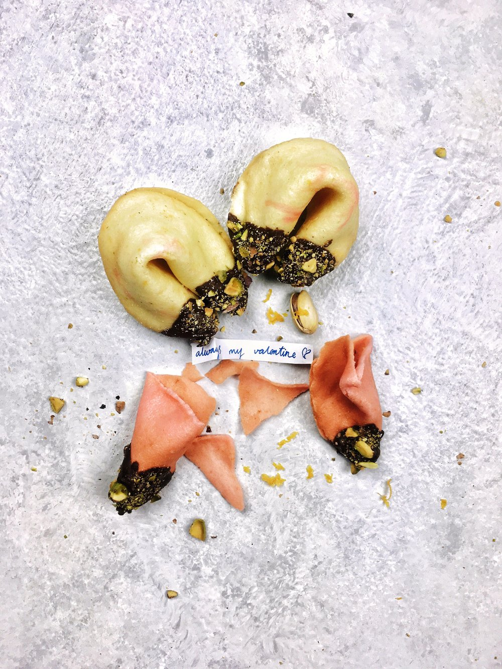 Orange & Pistachio Fortune Cookies