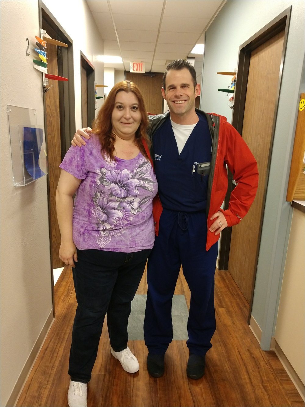 Leah with Dr. Nash after her procedure