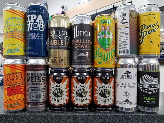 Lots of fresh cans this week! New breweries include @sloopbrewingco from NY and @batterysteelebrewing out of Portland, ME.