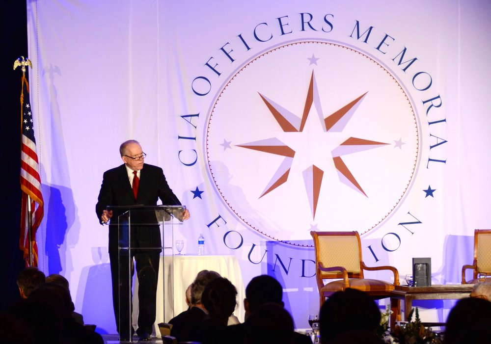 Director Brennan addresses the crowd at the CIA Officers Memorial Foundation dinner