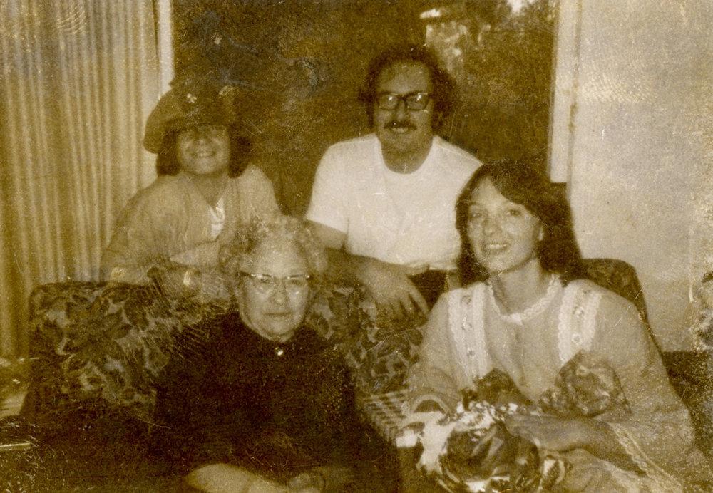 John Wiggins (Brother), Jim Wiggins (Dad), Josephine Colesberry (Great Grandmother), Romey Wiggins (Mom), Los Angeles, CA, 1970
