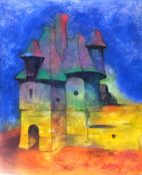 LE CHATEAU   Acrylic and Pastel, 36x42   Available