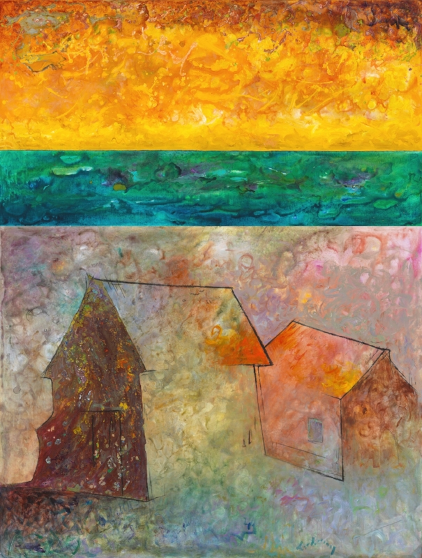 """Haunting Magic of an American Barn XXX"", acrylic and oil on canvas, 54x74"