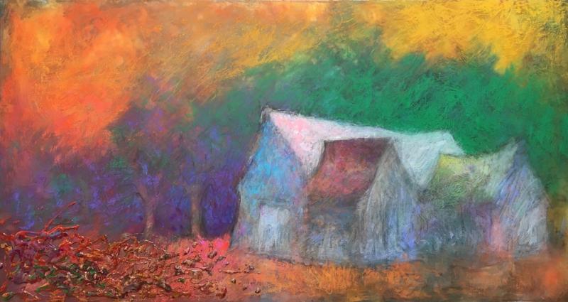 HAUNTING MAGIC OF BUCKS COUNTY BARNS   Acrylic and Pastel, 22 x 36   Available