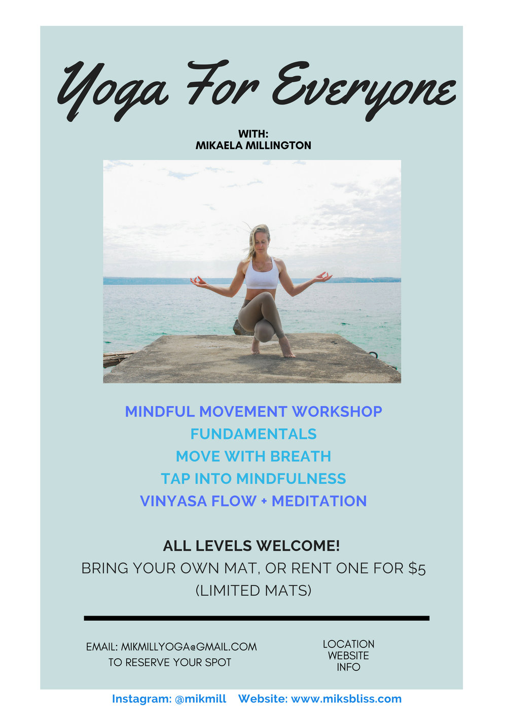 offering   2 hour workshop  focus:the basics and FUNDAMENTALS. this workshop is open to all levels as the exercises and anatomy knowledge are VALUABLE tools to take away with. we will be looking into: anatomy and practice flows/exercises surrounding the spine, shoulders, and hips.