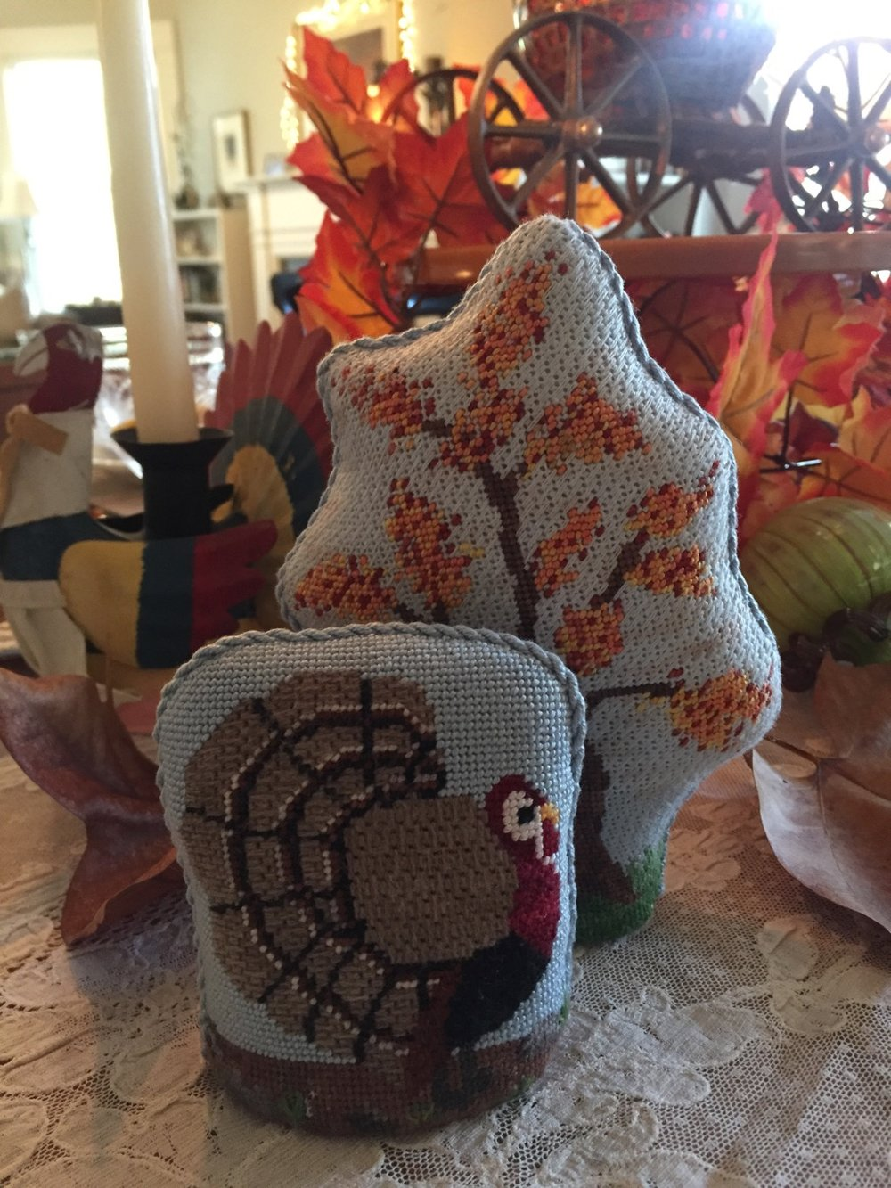 Needlepoint Thanksgiving decorations created by my mother.