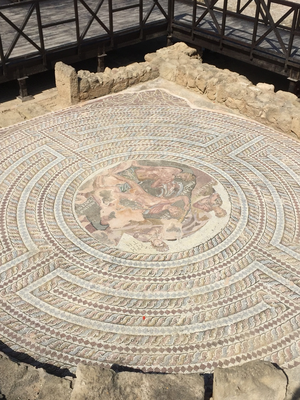 2000 year-old mosaic labyrinth in the House of Theseus in the ruins of Kato Pathos