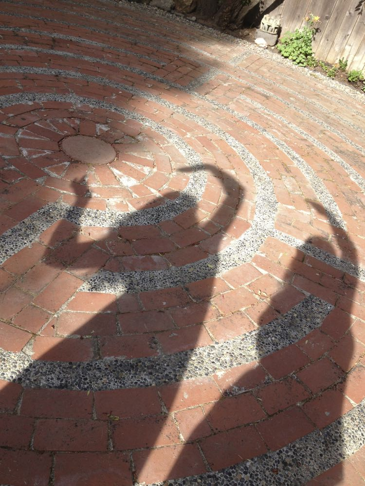 Shadow dancing in the Santa Rosa Labyrinth...