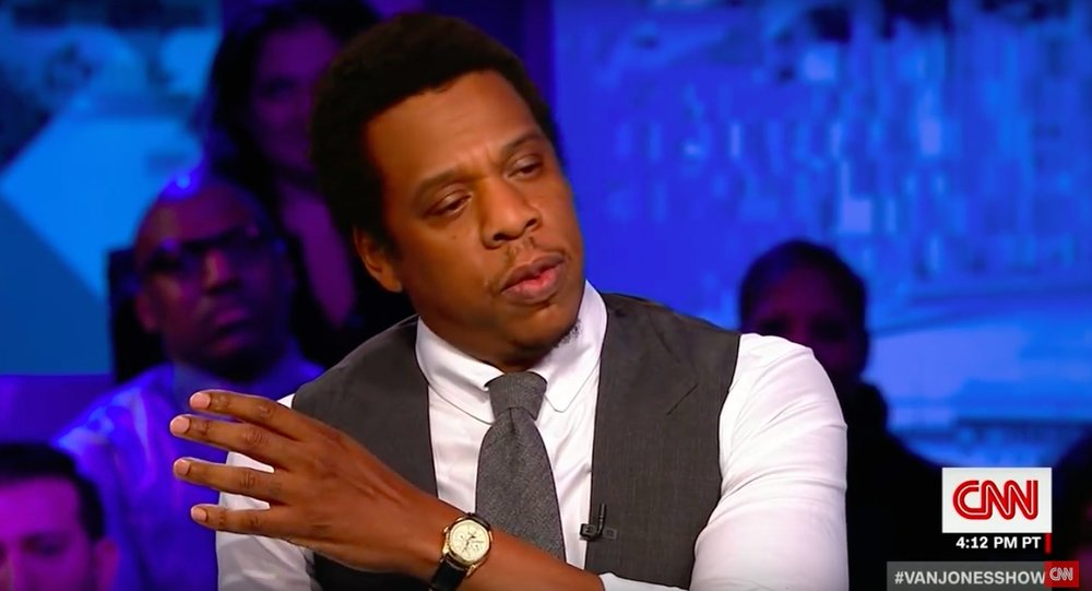 Jay-Z wearing the Franken-Rolex on the Van Jones Show on CNN (Picture courtesy of CNN).