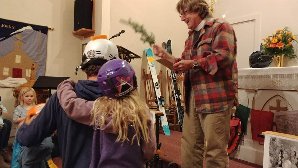 "The Rev. Charlie Brumbaugh leading a ""Blessing of the Skis"" at St. John's, Breckenridge. Photo courtesy the Rev. Charlie Brumbaugh"