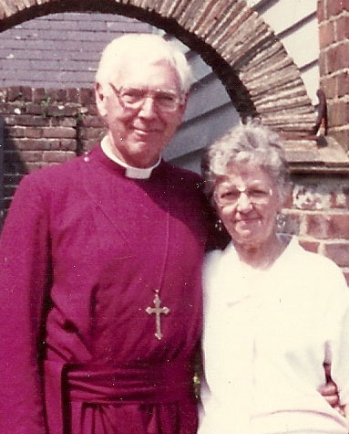 Bishop William Wolfrum and his wife at Canterbury, 1988