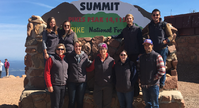 Colorado Episcopal Service Corps Members at the summit of Pikes Peak. Photo courtesy The Reverend Canon Rebecca Crummey