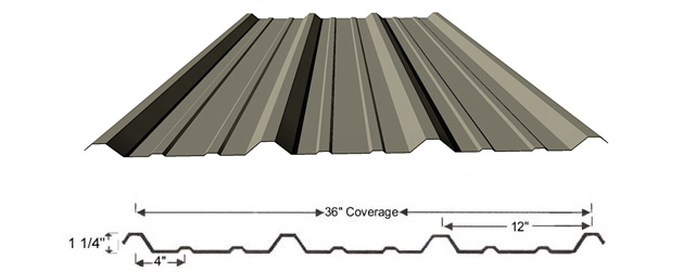The R panel is a versatile panel used in a variety of roofing applications. This is similar to PBR but does not have the purlin bearing rib. However it is more economical and mostly used in pre engineered projects.