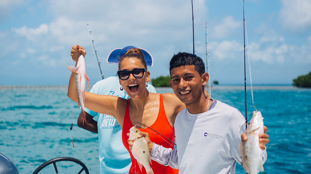 Reef Fishing - Troll along the outer cayes or spin cast anywhere along the coast, fish it all with world-class guides! Full and half day options come with rods and tackle, along with a lunch. Cook your catch with the guides!