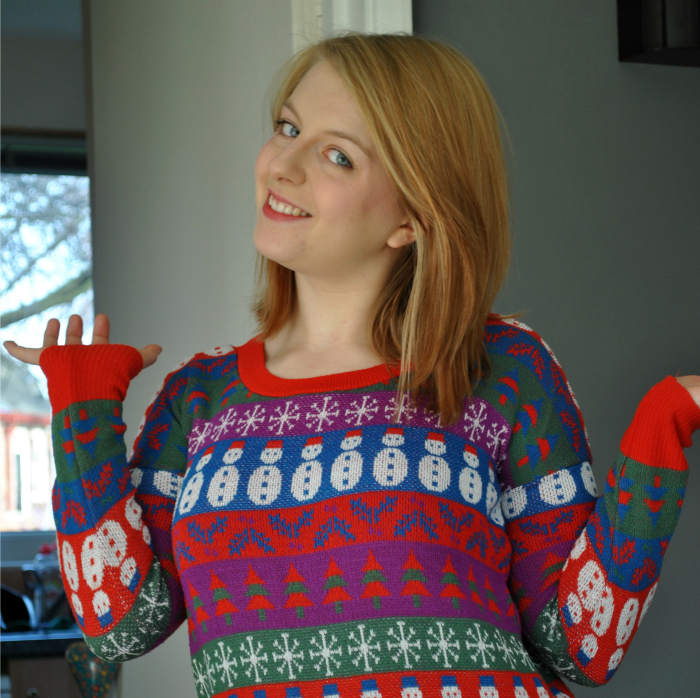 amy in christmas jumper