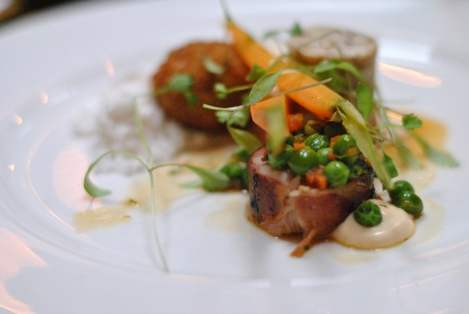 Rabbit ballotine, lobster beignet, lobster & orange reduction, carrot, coriander & fresh peas at Shears Yard
