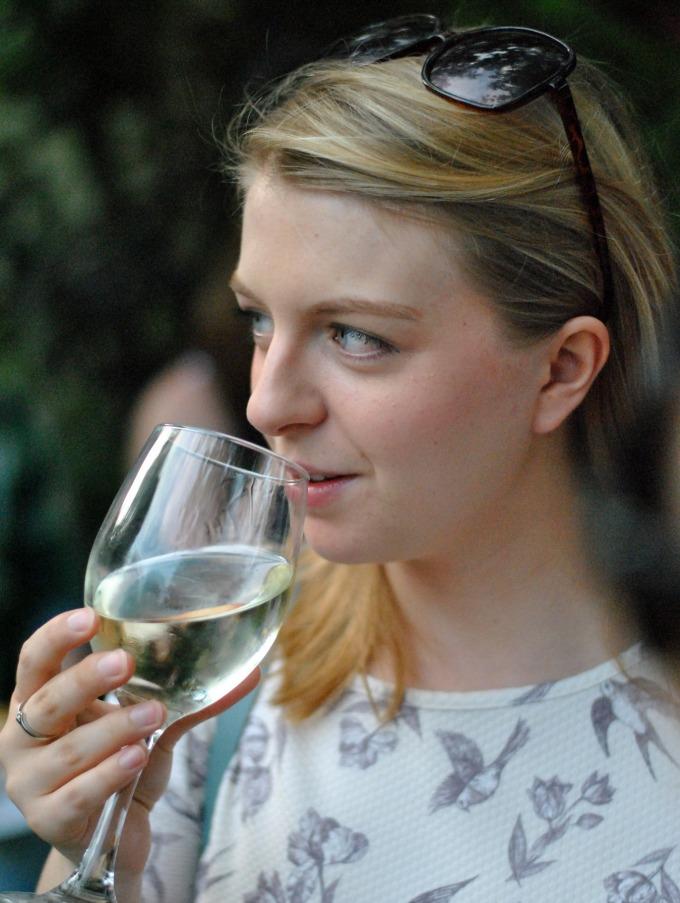 Amy Drinking Wine