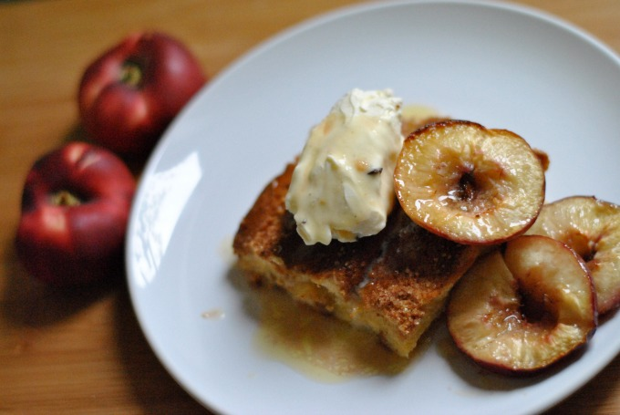 French Toast with Honey Roast Peaches & Mascarpone Cream