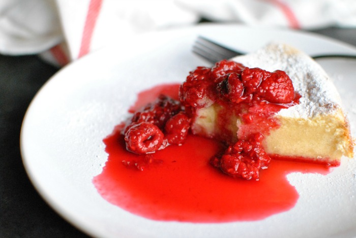 Condensed Milk Cake with Raspberries